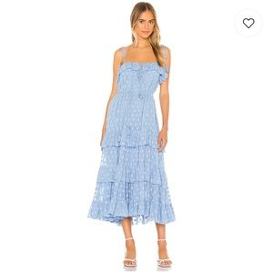 Karina Grimaldi Lori midi dress in blue ruffled